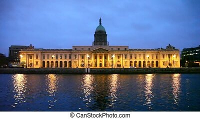 facade of Customs House at night in Dublin, Ireland