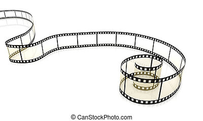 Blank film strip - Blank film on white background with...