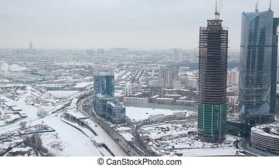 top view of wintry International Business Center, Moscow