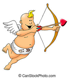 Happy Cupid with bow and arrow - Image of a cupid about to...
