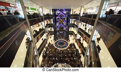 Top view of interior of Evropeisky Mall in Moscow, Russia. -...