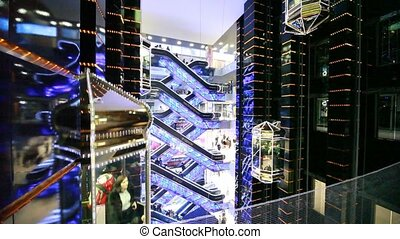 Elevators and escalators in Evropeisky Mall - MOSCOW -...
