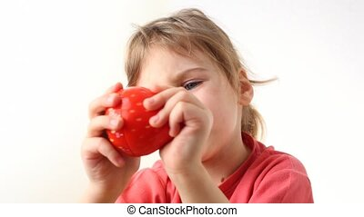 girl with kitchen timer in strawberry form - happy little...