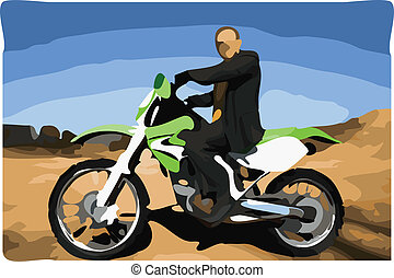 Man on Dirt Bike Vector Illustration no face - man on...