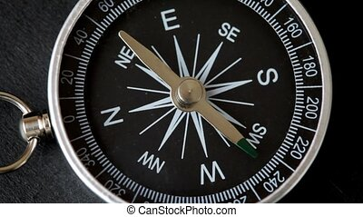 top view of rotating compass with flickering pointer