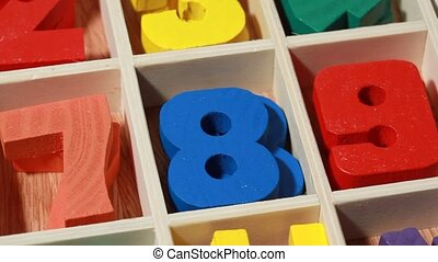 rotating wooden numbers from game for junior age - rotating...