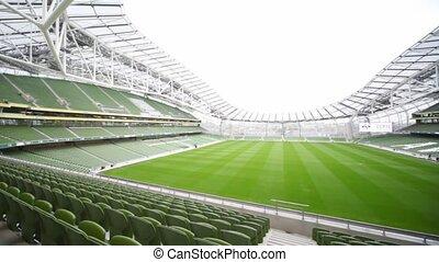 Panning of empty stadium Aviva in Dublin, Ireland - DUBLIN -...