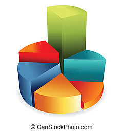 pie chart - illustration of business pie chart on white...