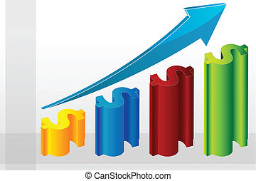 business graph - illustration of business graph on white...
