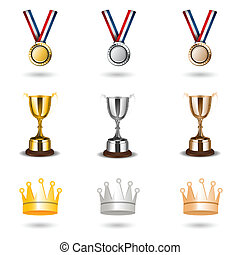 reward icons - illustration of reward icons on white...