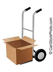 parcel with trolley - illustration of parcel with trolley on...
