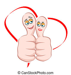 male and female icon on thumb - illustration of male and...