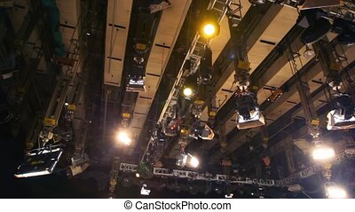 lighting equipment under ceiling of big television studio