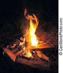 campo, fuego, noche