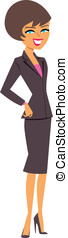Brunette Businesswoman - Cartoon of a professional...