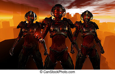 Advanced cyborg soldiers - quality 3d illustration of a...