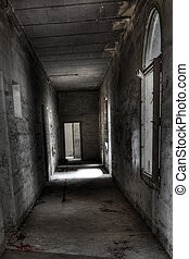 Whispers in the Corridor - Dark and spooky corridor in an...