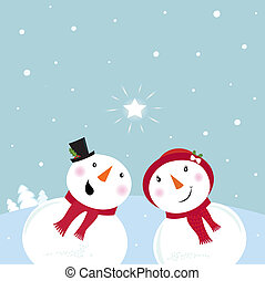 Snowman & Snow - woman. VECTOR