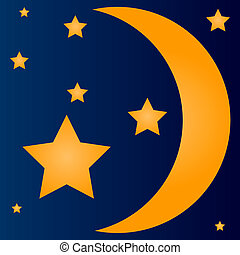 Simple Crescent Moon and Stars - Yellow Crescent Moon and...