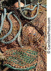 deep sea fishing nets and buoys - dtail of deep sea fishing...