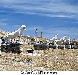 Lions Of Naxians Delos - The antique Lions Of Naxians Delos,...