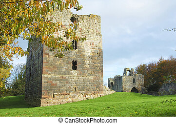 Etal castle tower and gatehouse in autumn