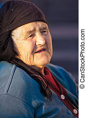 Old peasant woman - Portrait of an elderly Romanian woman...