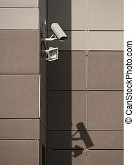 Video camera of the security system of the building