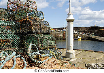 lobster pots at Crail harbour - closeup of lobster pots on...