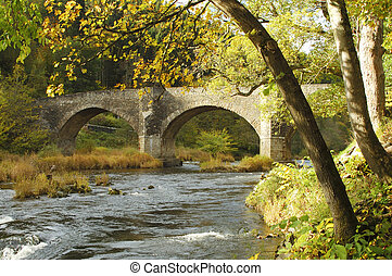 Yair bridge on the river Tweed in autumn - Yair Bridge with...