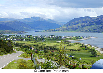 panorama of Ullapool in north west highlands of scotland -...