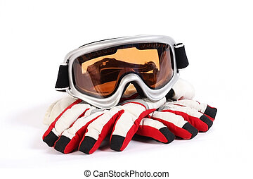 ski snowboard goggles with gloves isolated on white background