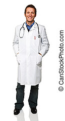 standing doctor - standing friendly young doctor isolated on...