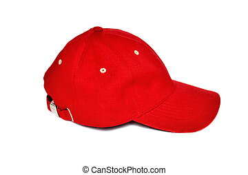 Red baseball cap on a white background
