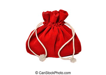 Red bag with gifts from Santa Claus