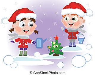 Children watering fir