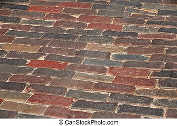 cobblestone street at historic st augustine florida usa