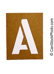 Latter A - Cardboard stencil letter A for the replication of...