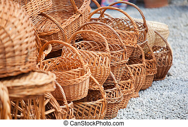 Baskets - Various handmade baskets for sale at a souvenir...