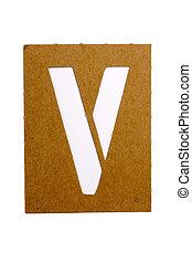 """Latter V - Cardboard stencil letter """"V"""" for the replication..."""
