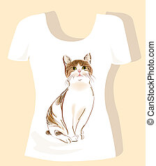 t-shirt design  with tabby cat