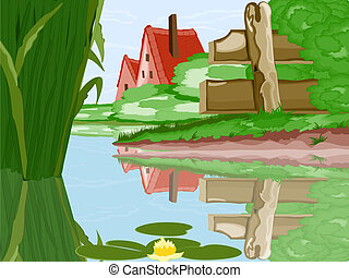 House lake - Vector illustration of a chalet standing on the...