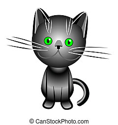 vector black  British cat with green eyes