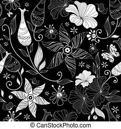 Black effortless floral pattern