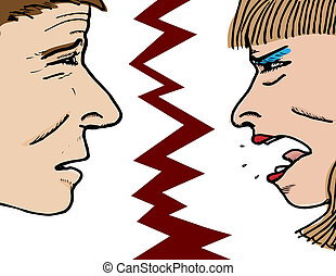 Emotional Couple - Closeup of an apologetic man and a very...