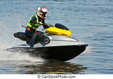 Watersports - Woman Riding Jet Ski Wet Bike Personal...