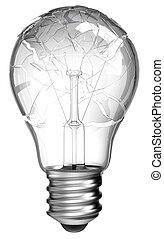 Failed idea. Smashed lightbulb isolated over white...