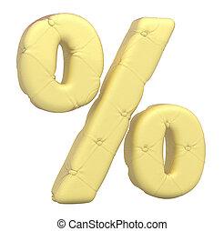 Luxury soft leather font percent symbol isolated over white
