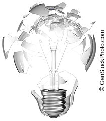 Bad idea Smashed lightbulb isolated over white background