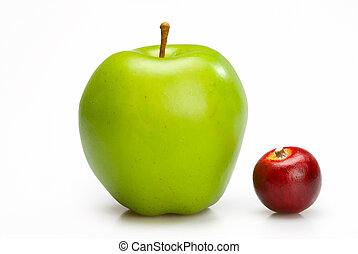 Big and small apples.